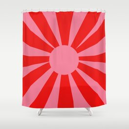 Pink Red Summer Sun Shower Curtain