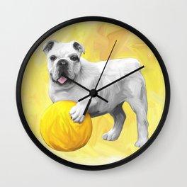 Bulldog Playing with Ball Watercolor Art Painting Wall Clock