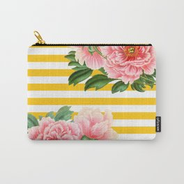 Pink Peonies Yellow Stripes Carry-All Pouch