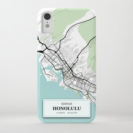 Honolulu Hawaii City Map with GPS Coordinates iPhone Case