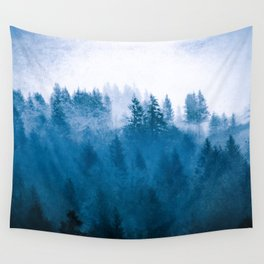 Blue Winter Day Foggy Trees Wall Tapestry