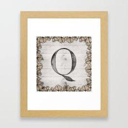 Neutral Monogram Q Framed Art Print