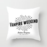vampire weekend Throw Pillows featuring Vampire Weekend // Modern Vampires of the City by alquimie