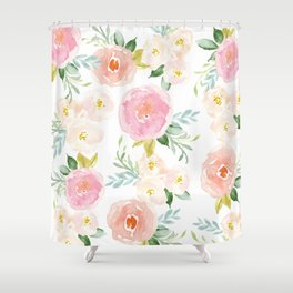 Sweet Pink Blooms (Floral 02) Shower Curtain