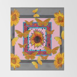 SOUTHWEST ART BUTTERFLIES SUNFLOWERS Throw Blanket