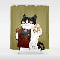 swag Shower Curtains featuring Swag Kat by CB Studio