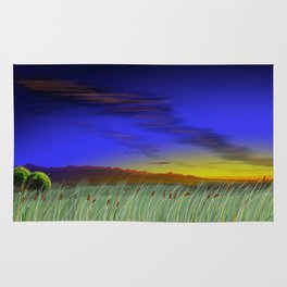 Great plains cattails Rug