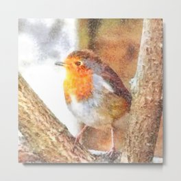 Artistic Robin Redbreast Perched Between Bare Branches Watercolor Metal Print