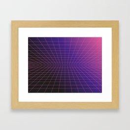 Outrun Grid / 80s Retro Framed Art Print