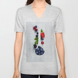 Berries with spoon Unisex V-Neck