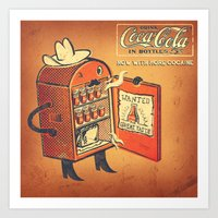 cocaine Art Prints featuring Cocaine Cola by TheNazzaro
