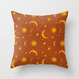 Vintage Sun and Star Print in Rust Throw Pillow