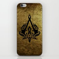 assassins creed iPhone & iPod Skins featuring Creed Assassins Grunge Logo by DavinciArt