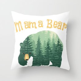 Family Mama Bear Forest for Mom Mother Mommy Throw Pillow