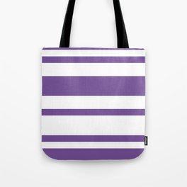 Mixed Horizontal Stripes - White and Dark Lavender Violet Tote Bag