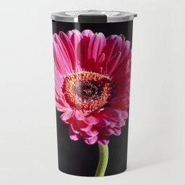 Single Pink Flower on Black Background Travel Mug