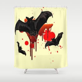 DECORATIVE FLYING BLACK BATS & HALLOWEEN BLOODY ART Shower Curtain