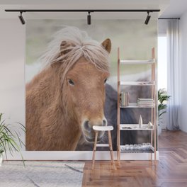 Watercolor Horse 02, Icelandic Pony, Kufhol, Iceland, Strawberry Blond Wall Mural