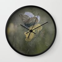 matty healy Wall Clocks featuring Blue butterfly on blossom by UtArt