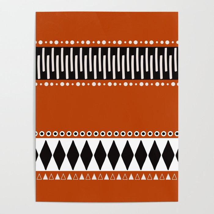 Bohemian orange, black&white tribal vibe Poster