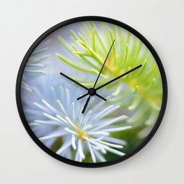 Two fir branches close-up shot Wall Clock