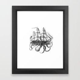 Octopus Attacks Ship on White Background Framed Art Print