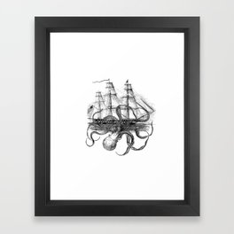 Octopus Attacks Ship on White Background Framed Art Print