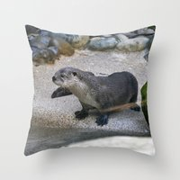 otter Throw Pillows featuring Otter by Phil Hinkle Designs