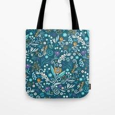 Flower circle pattern, blue Tote Bag