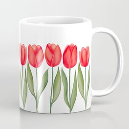 Red Spring Tulips Watercolor Flowers Coffee Mug