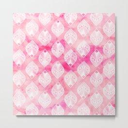 Modern white leaf mandala illustration pattern on pink watercolor Metal Print