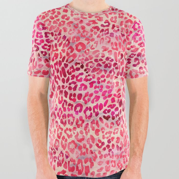bfd2eb478a37 Pink Leopard Print All Over Graphic Tee by serigraphonart | Society6