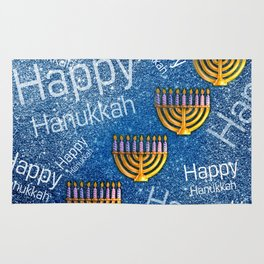 Happy, Happy Hanukkah Menorah Pattern Rug