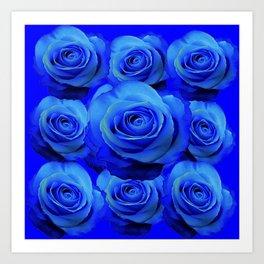 AWESOME BLUE ROSE GARDEN  PATTERN ART DESIGN Art Print