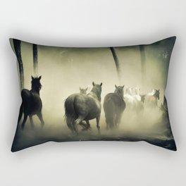 Herd of Horses Running Down a Dusty Path Rectangular Pillow