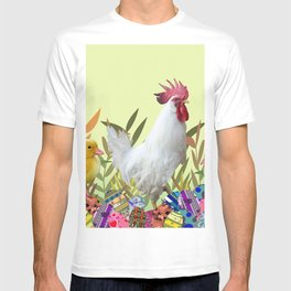 Rooster Chicken Easter eggs colorful T-shirt