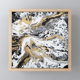 Black White and Gold Fluid Abstract Framed Mini Art Print