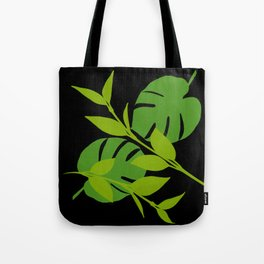 Simply Tropical Leaves with Black Background Tote Bag