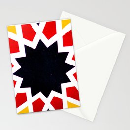 Oriental andalusia geometric ornament pattern in Red and yellow Stationery Cards