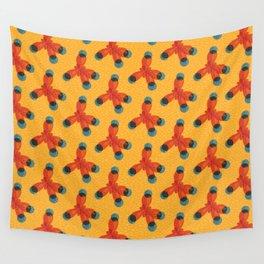 Orange Methane Molecule Wall Tapestry