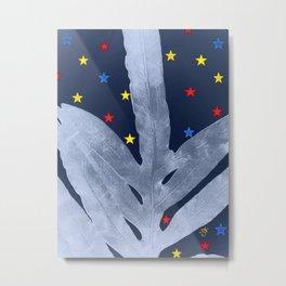 Green Fern Silver Blue with Starry Night, Stars Metal Print