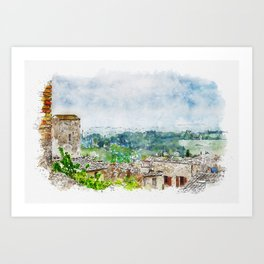 Aquarelle sketch art. Beautiful spring froggy landscape in Tuscany countryside, Italy Art Print