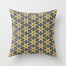 Flower Pattern Yellow/Blue Throw Pillow