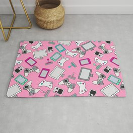 Pink Gamer Video Game Controllers Pattern Rug