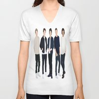 one direction V-neck T-shirts featuring One Direction by kikabarros