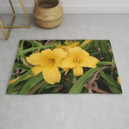 Pair of Yellow Day Lilies Rug