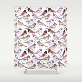 Wild birds in watercolor and pencil Shower Curtain