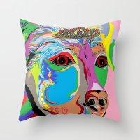 rottweiler Throw Pillows featuring Lady Rottweiler by EloiseArt