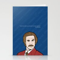 anchorman Stationery Cards featuring Ron Burgundy Anchorman  by Sheena White for Winsome Gallery
