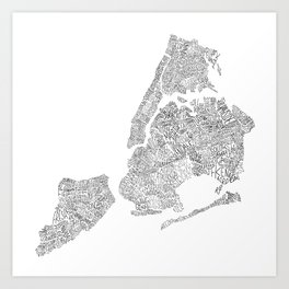 New York City Boroughs - Hand lettered map Art Print